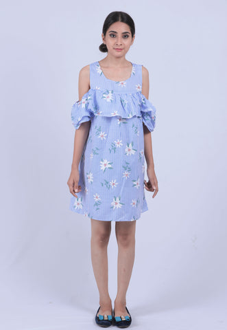 Sky Blue Striped Floral Cold Shoulder Dress