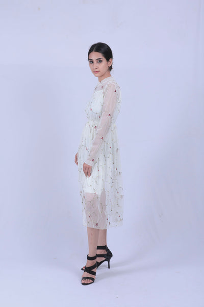 Off White Embroidered Mesh Overlay Maxi Dress