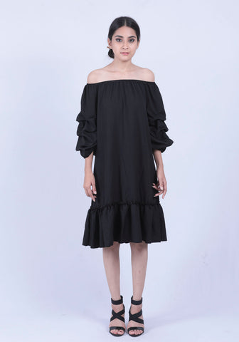 Black Ruched Sleeve Bardot Dress - Brinda's Store
