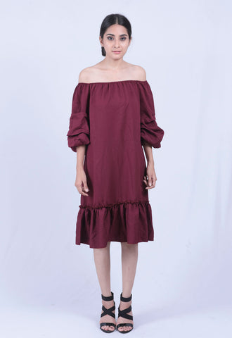 Maroon Ruched Sleeve Bardot Dress