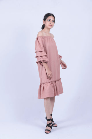 Peach Ruched Sleeve Bardot Dress - Brinda's Store