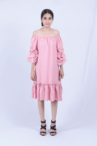 Baby Pink Ruched Sleeve Bardot Dress - Brinda's Store