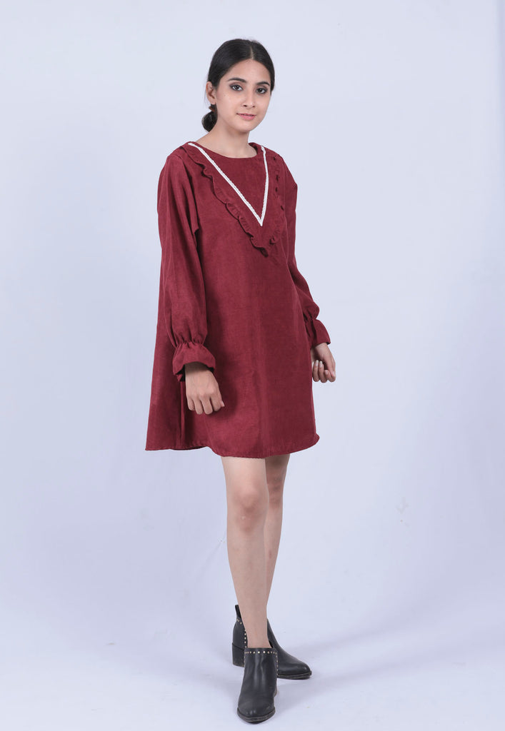 Maroon Ruffle Lace Neck Elasticated Sleeve A-line Dress