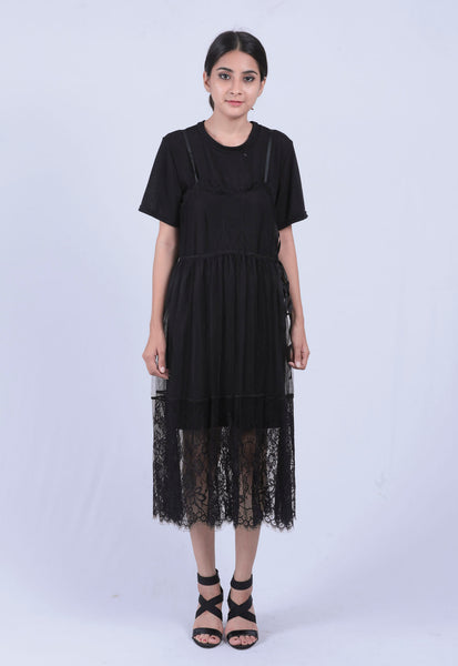 Black Sheer Lace A-line Dress - Brinda's Store