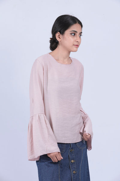 Pink Self Design Bell Sleeve Top