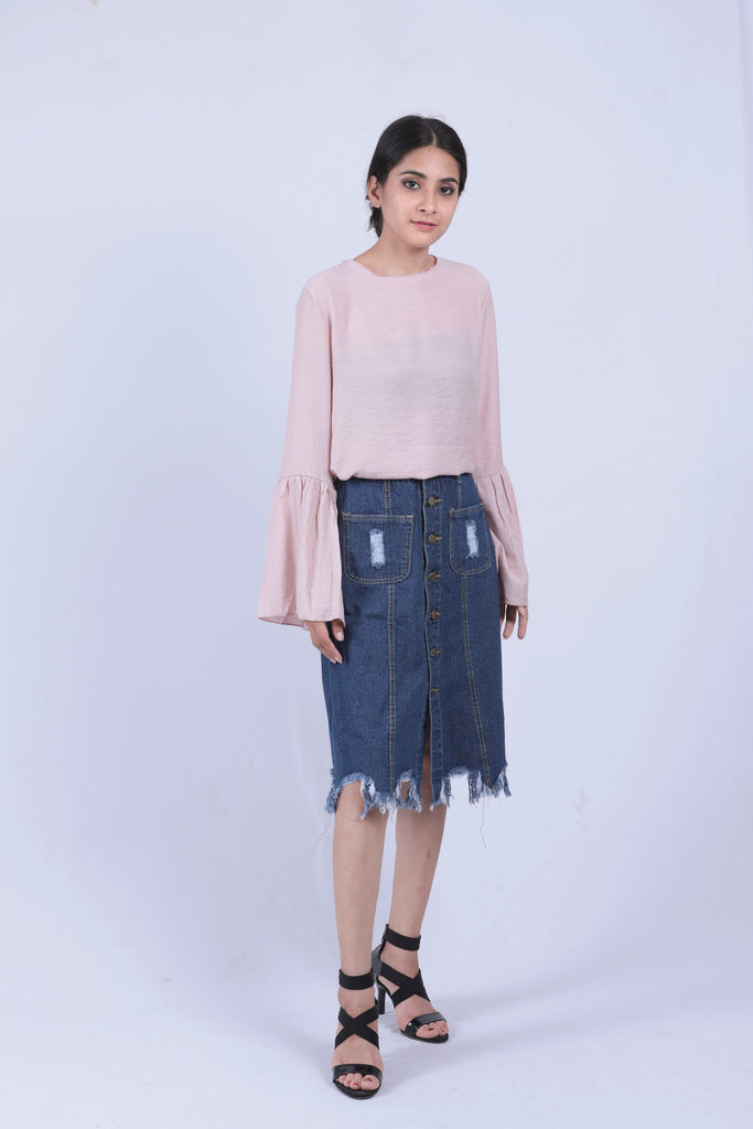 Blue Distressed Fray Hem Denim Skirt - S - Brinda's Store