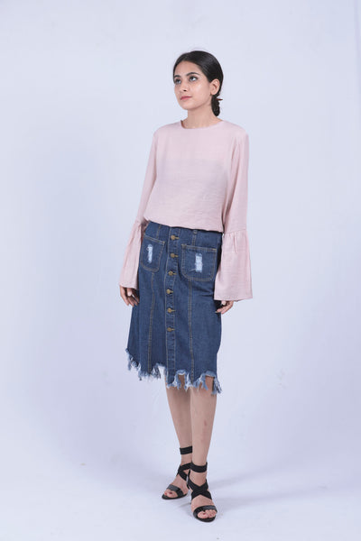 Blue Distressed Fray Hem Denim Skirt - L - Brinda's Store