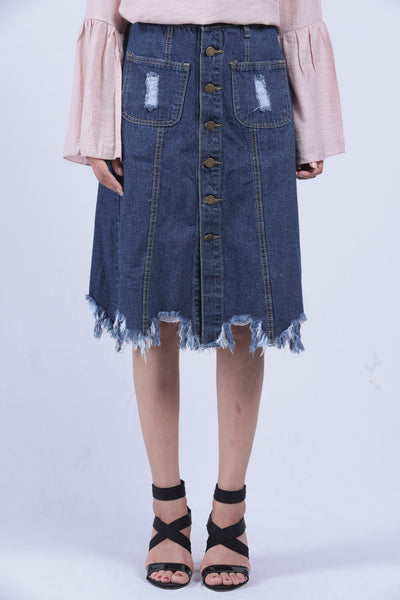 Blue Distressed Fray Hem Denim Skirt - M - Brinda's Store