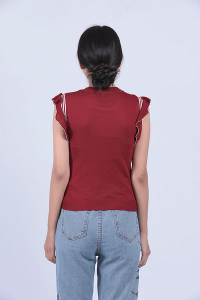 Maroon Flutter Sleeve Top