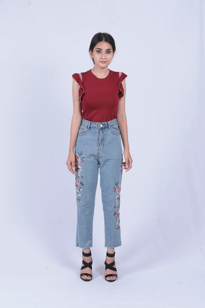Blue Flower Embroidery Denim - L - Brinda's Store
