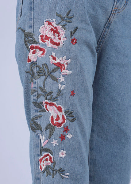 Blue Flower Embroidery Denim - M - Brinda's Store