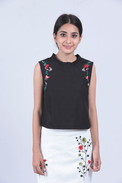 Black Embroidered High Neck Sleeveless Top - Brinda's Store