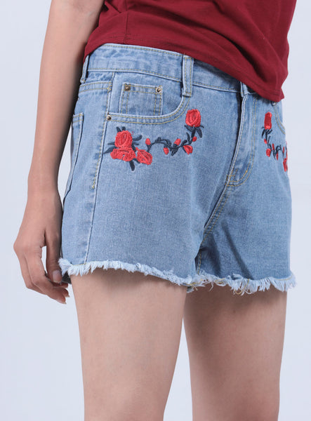 Blue Rose Embroidery Frayed Hem Denim Shorts - L - Brinda's Store