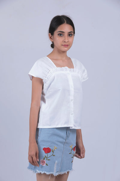 Blue Denim Red Flower Mini Skirt - S - Brinda's Store
