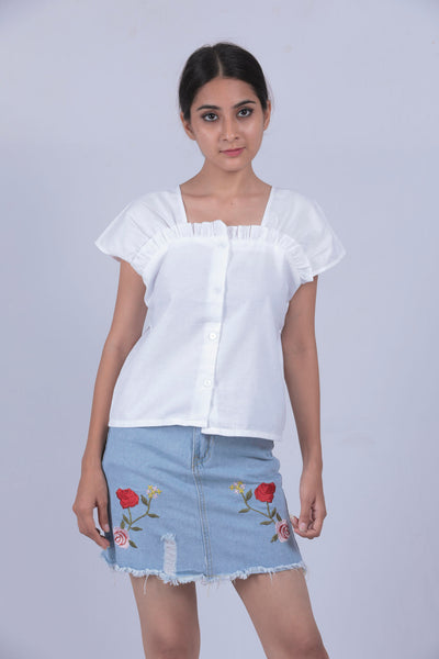 White Solid Ruffled Neck Top