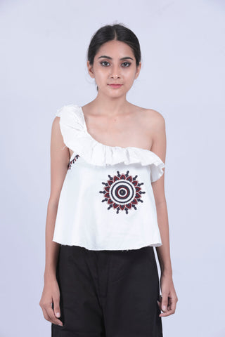 White Embroidery One Shoulder Ruffle Top