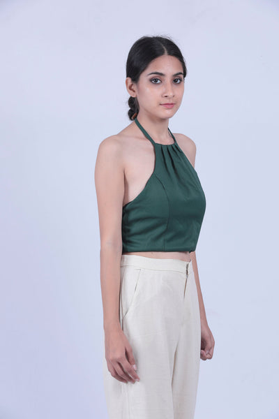 Green Self Striped Halter Neck Short Top - Brinda's Store