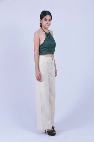 Cream Coloured  Straight Fit Trouser - Brinda's Store