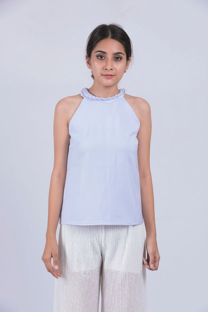Violet Braid Neck Sleeveless Top