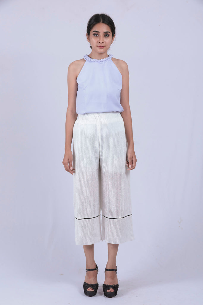 White Self Pleated Wide Leg Pants