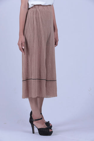 Light Brown Self Pleated Wide Leg Pants