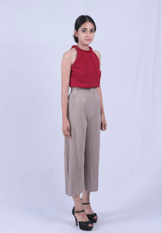 Red Braid Neck Sleeveless Top
