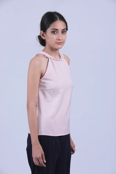 Pink Braid Neck Sleeveless Top - Brinda's Store