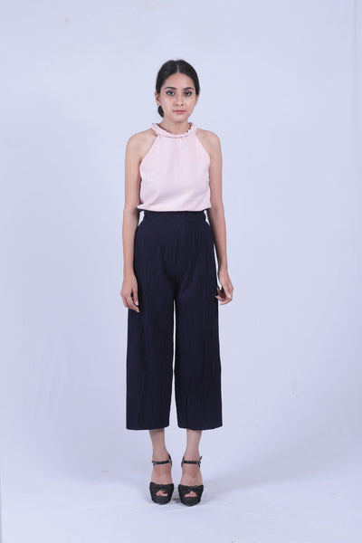 Navy Blue Self Pleated Culottes