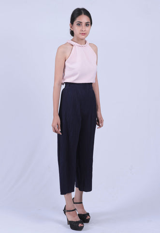 Navy Blue Self Pleated Culottes - Brinda's Store