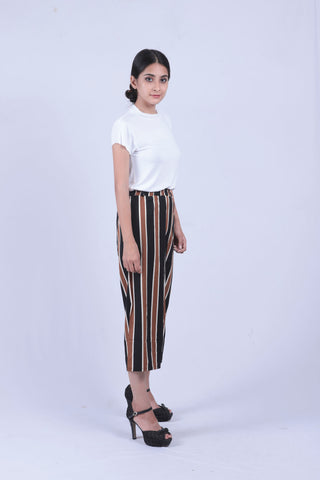 Brown & Black Vertical Striped Self Tie Wide Leg Pants - Brinda's Store