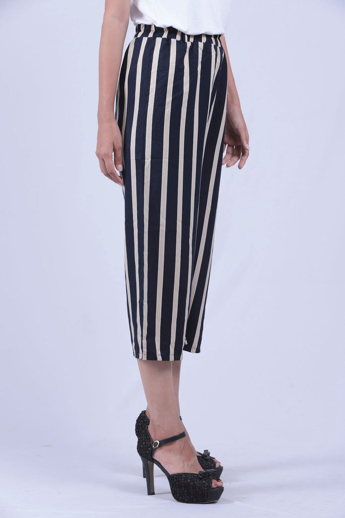 Navy Blue & Cream Verical Striped Self Tie Wide Leg Pants