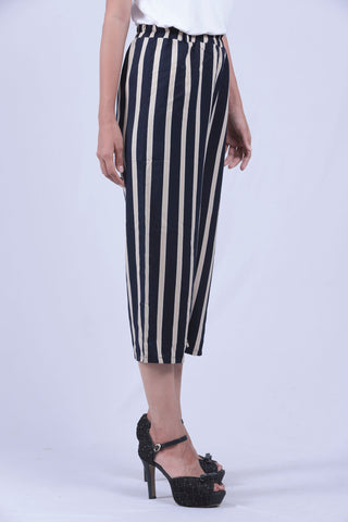 Navy Blue & Cream Verical Striped Self Tie Wide Leg Pants - Brinda's Store
