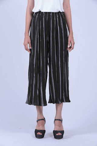 Military Green & White Vertical Striped Culottes