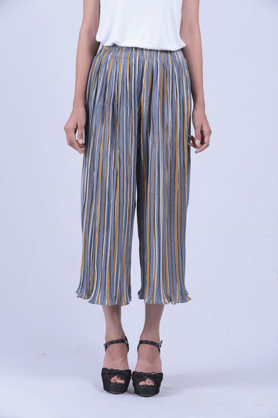 Grey & Yellow Vertical Striped Culottes