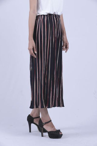 Blue & Maroon Vertical Striped Culottes - Brinda's Store