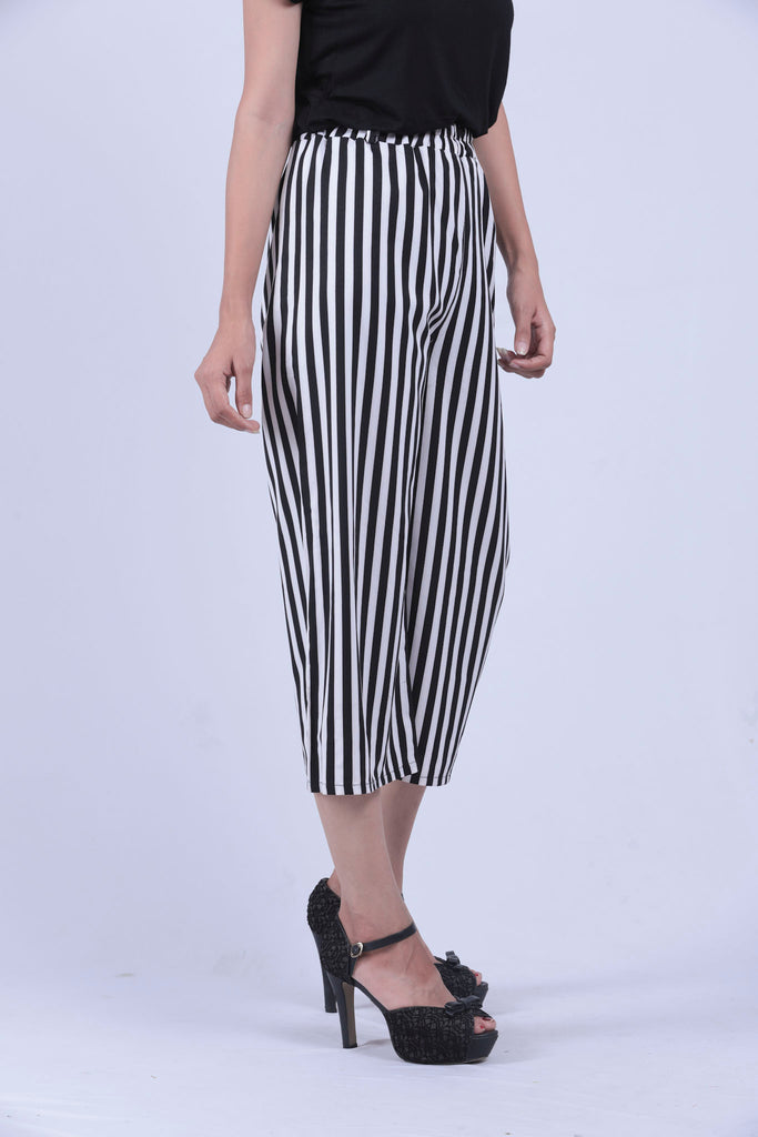 Black & White Vertical Narrow Striped Self Tie Wide Leg Pants - Brinda's Store