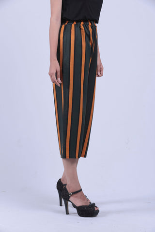 Green & Orange Vertical Striped Self Tie Wide Leg Pants - Brinda's Store