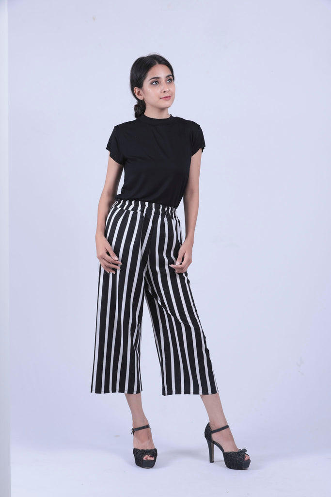 9b71798f3f9a55 Black & White Vertical Striped Self Tie Wide Leg Pants - Brinda's Store