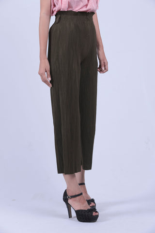 Military Green Self Pleated Culottes - Brinda's Store