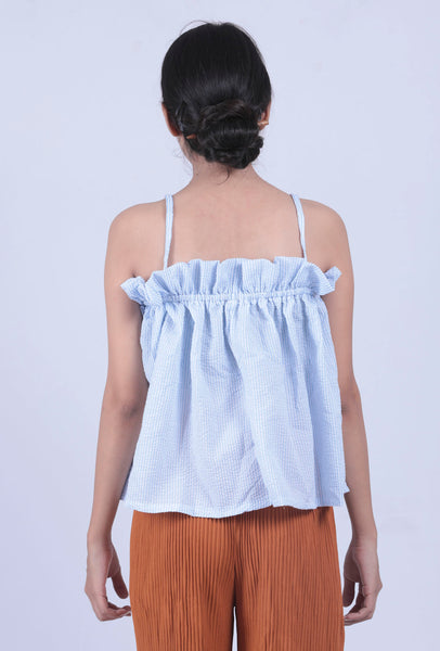 Blue Vertical Stripded Bow Shoulder Strap Cami Top - Brinda's Store
