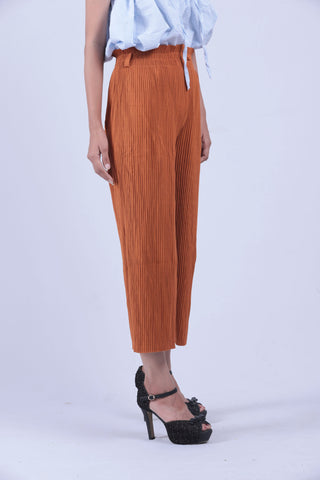 Mustard Brown Self Pleated Culottes - Brinda's Store