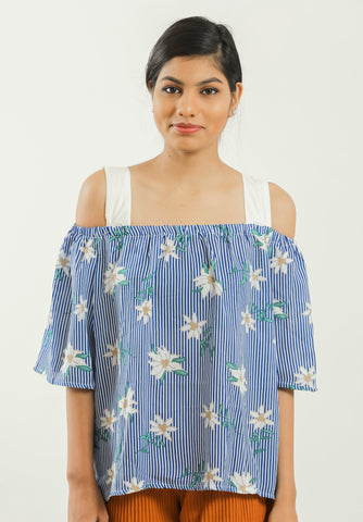 Blue Striped Floral Printed Off Shoulder Top - Brinda's Store
