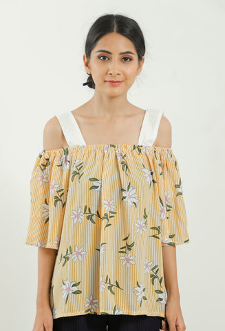 Yellow Striped Floral Printed Off Shoulder Top