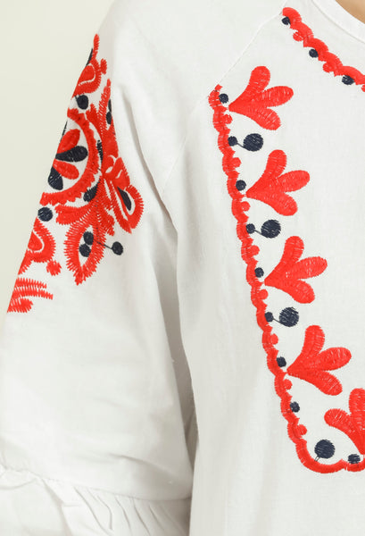 White Embroidered Bohemian Tie-up Top
