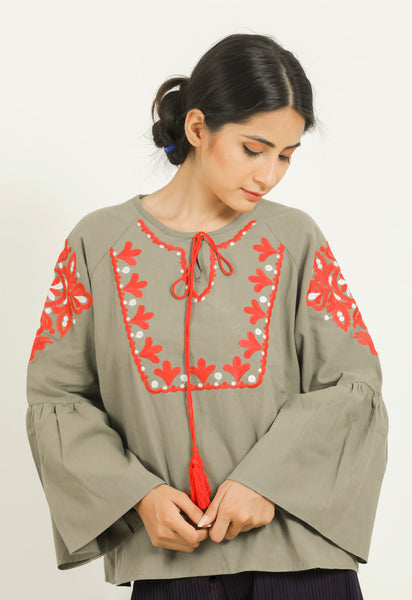 Green Embroiderd Bohemian Tie-up Top - Brinda's Store