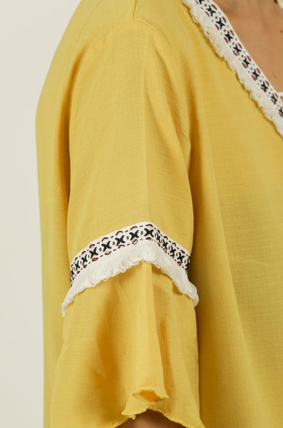 Yellow Frayed Lace Tie-up Top