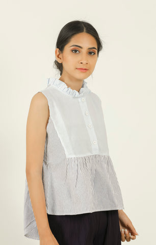 Blue Striped Sleeveless Shirt - Brinda's Store