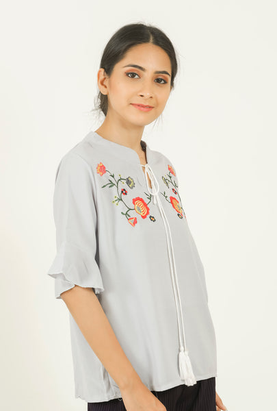 Grey Flower Embroidered Tie-up Top