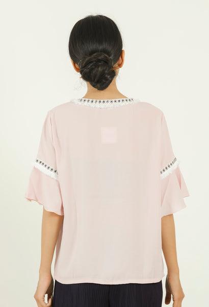 Pink Frayed Lace Tie-up Top