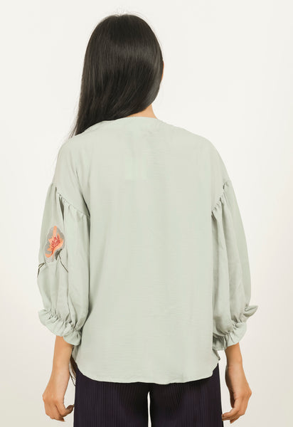 Green Embroidered Sleeve Top - Brinda's Store